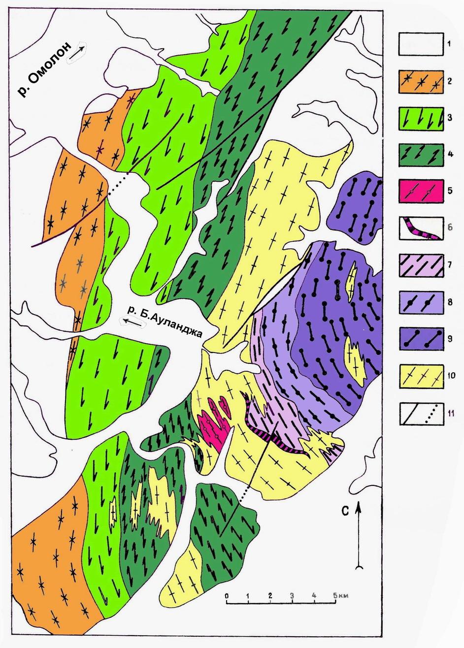 Ауланджинский выступ фундамента Омолонского массива - геолого-петрологическая схема