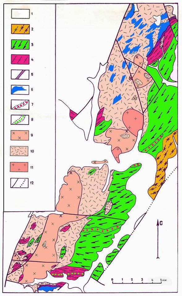 Закоронный выступ фундамента Омолонского массива - геолого-петрологическая схема
