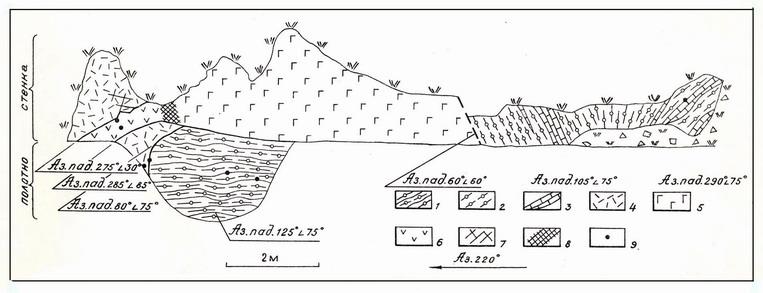 Фундамент Омолонского массива, Закоронный выступ. Дациты, секущие диопсидовые гнейсы.